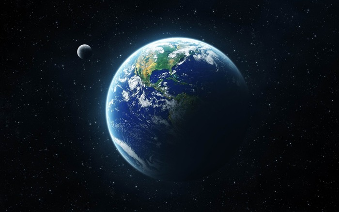 earth and moon from space-Space Photography Desktop Wallpaper Views:15594
