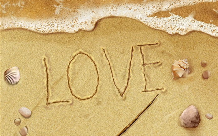 love on the beach-Happy Valentines Day theme desktop wallpaper Views:5350