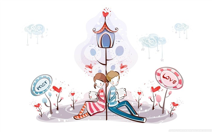 reading love letter-Romantic Valentines Day Vector Wallpaper Views:10349