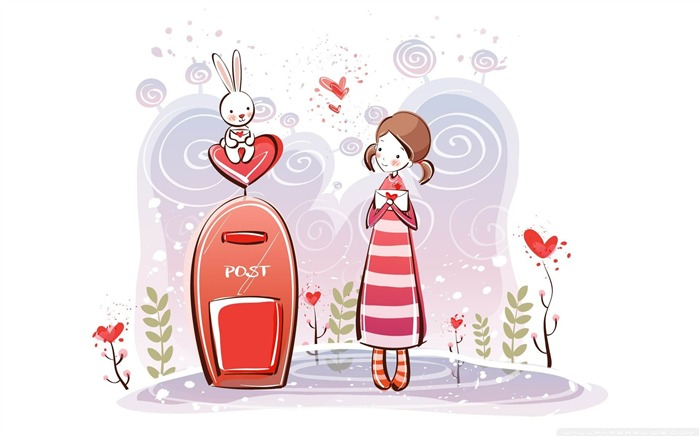 sending a love letter-Romantic Valentines Day Vector Wallpaper Views:4722
