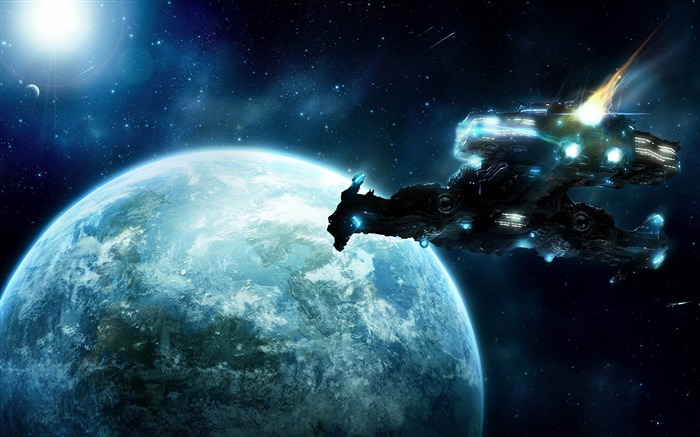 spaceship in space-Space Photography Desktop Wallpaper Views:20267
