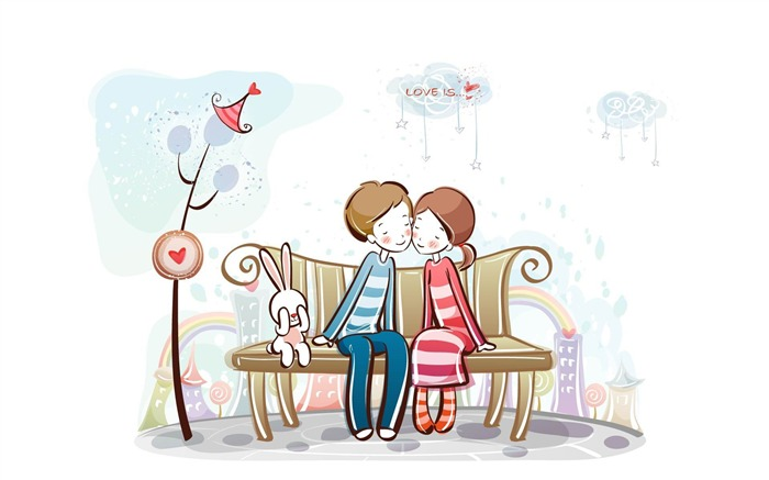 sweet couple on bench-Romantic Valentines Day Vector wallpaper album Views:4372