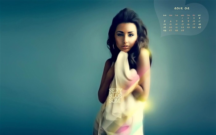 February 2012 calendar desktop themes wallpaper-second series Views:10174