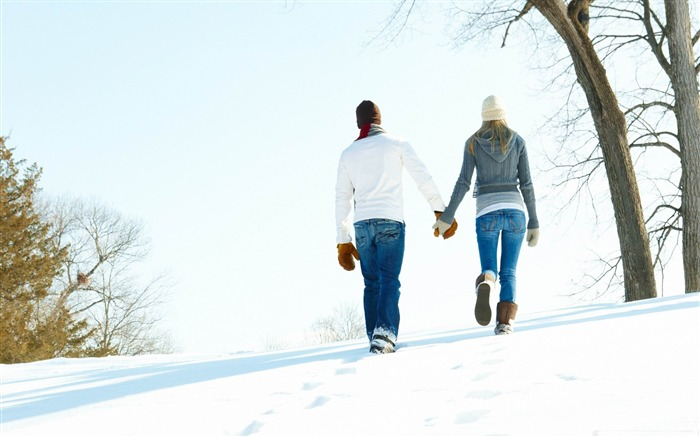 a romantic walk through the snow-Valentines Day theme desktop picture Views:20692 Date:2/3/2012 11:21:25 PM