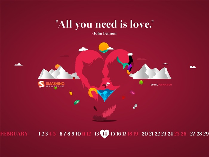 all you need is love-February 2012 calendar desktop themes wallpaper Views:5092