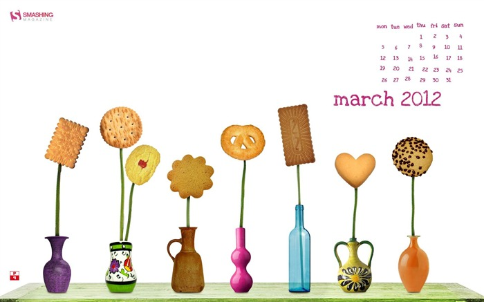 cookie fun-March 2012 calendar desktop themes wallpaper Views:4347