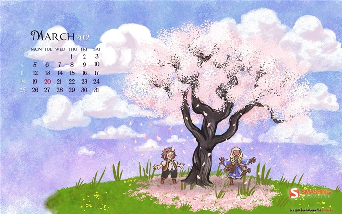 hello spring-March 2012 calendar desktop themes wallpaper Views:4118