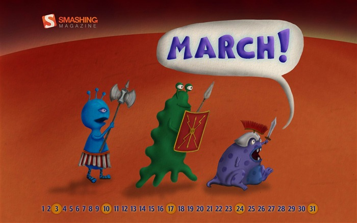marching martians-March 2012 calendar desktop themes wallpaper Views:4531