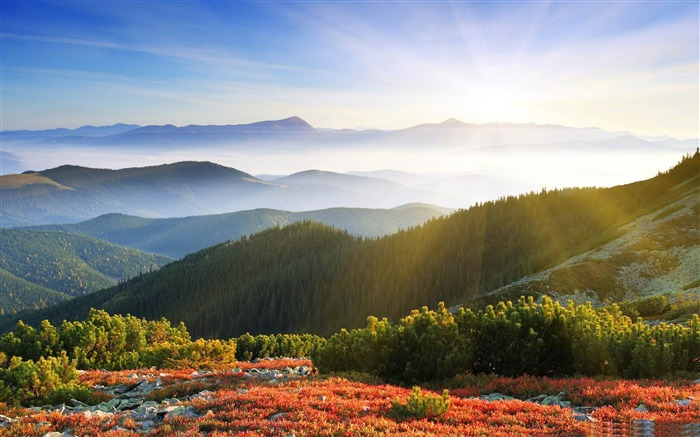 morning sunshine with fog-Beautiful mountain scenery picture Views:110676