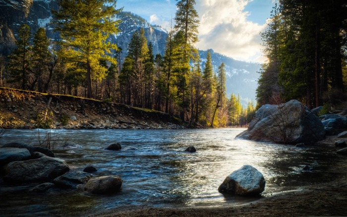 mountain stream hdr-Beautiful mountain scenery picture Views:14602