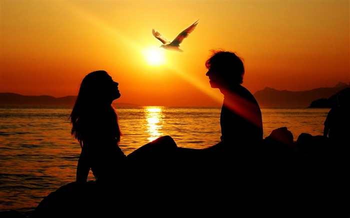 romantic couple sunset-Valentines Day theme desktop picture Views:60224 Date:2/3/2012 11:36:03 PM