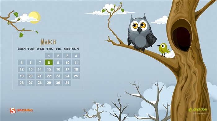 spring and owl-March 2012 calendar desktop themes wallpaper Views:6304