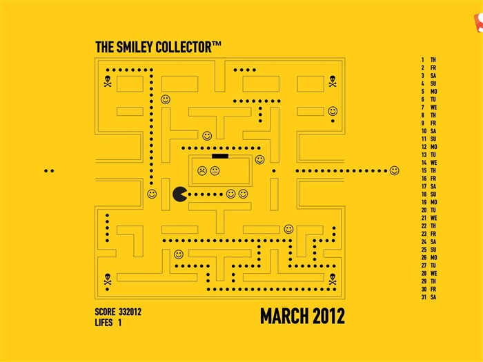 the smiley collector-March 2012 calendar desktop themes wallpaper Views:3563