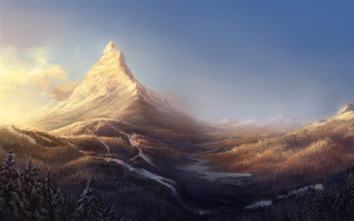 winter mountain painting-World of fantasy art design HD wallpaper Views:18871