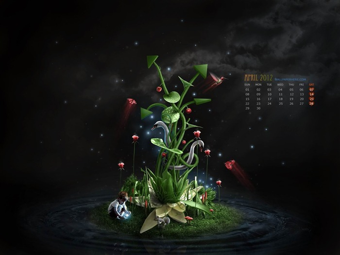 3D-April 2012 calendar themes wallpaper Views:5569