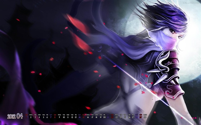 Anime Girl Amazing-April 2012 calendar themes wallpaper Views:4787