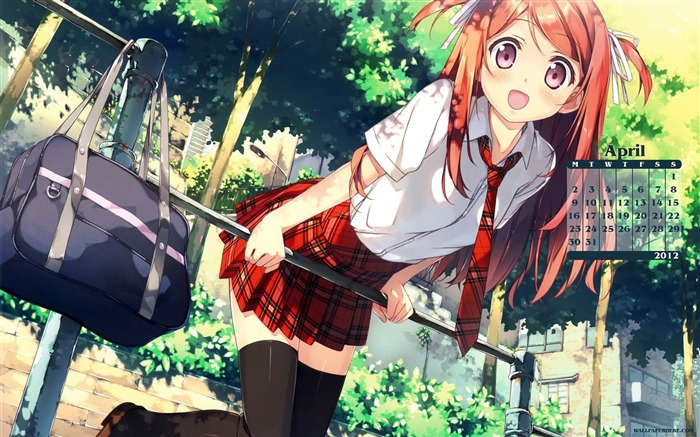 Anime Girl Cute-April 2012 calendar themes wallpaper Views:22192