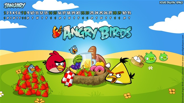 Angry bird the whole of 2012 Calendar Wallpaper Views:6129