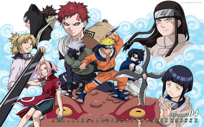 Naruto-April 2012 calendar themes wallpaper Views:19259