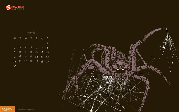 Along Came a Spider-April 2012 calendar themes wallpaper Views:4130