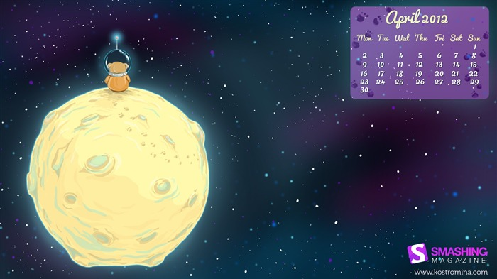bear on the moon-April 2012 calendar themes wallpaper Views:5001