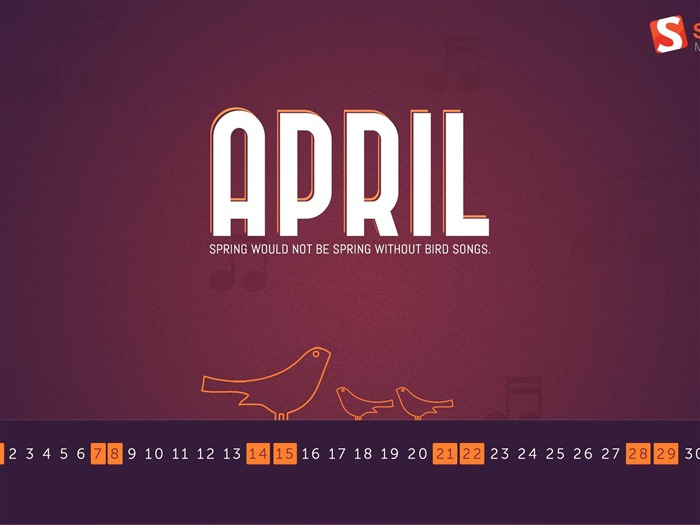 April 2012 calendar desktop themes wallpaper-second series Views:9514