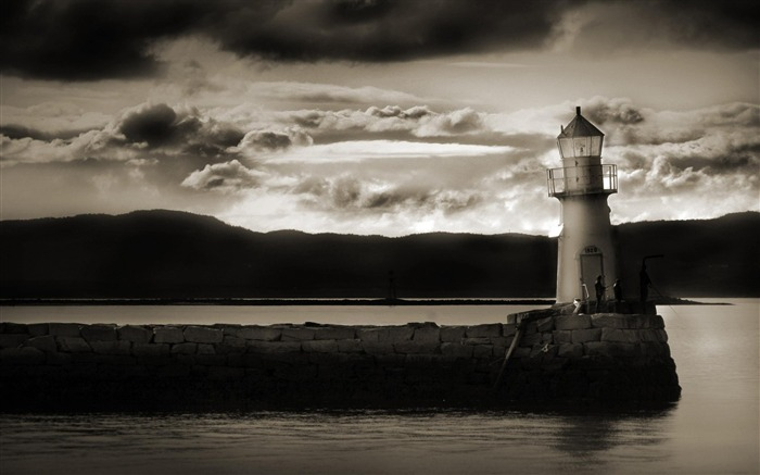 dark lighthouse-city architecture wallpaper Views:6938