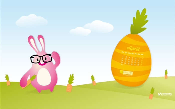 funny bunny-April 2012 calendar themes wallpaper Views:5248