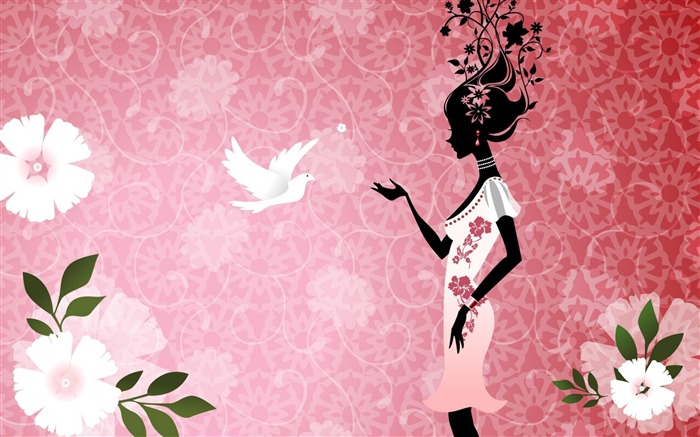 girl dove-Abstract art design wallpaper Views:7065