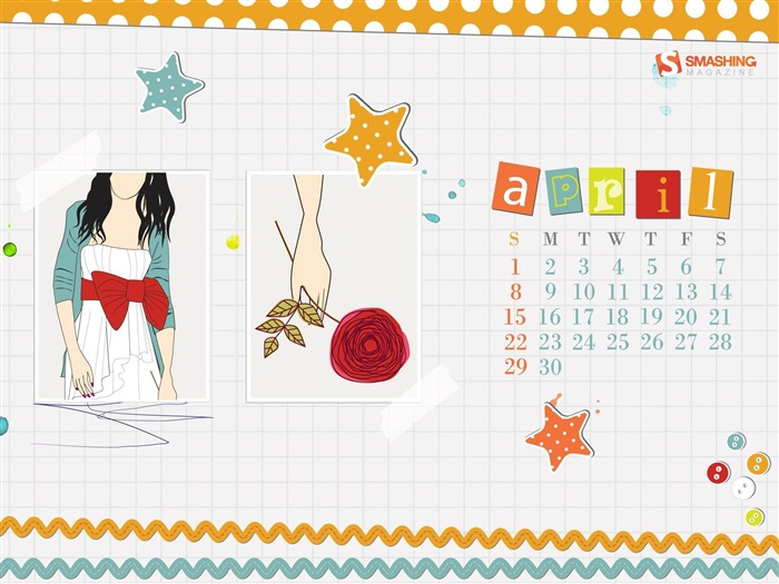 scrap-April 2012 calendar themes wallpaper Views:5229