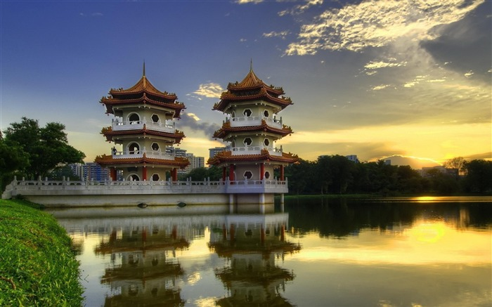 Chinese pagoda-city architecture wallpaper Views:7281
