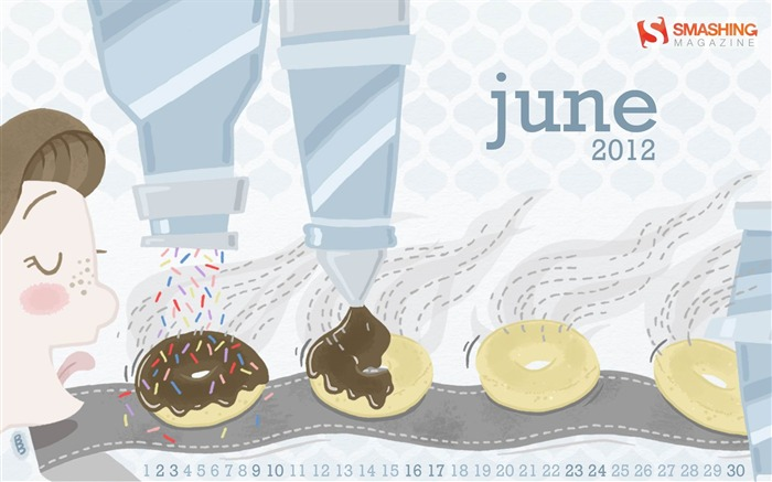 Go Nuts For Donuts-June 2012 calendar wallpaper Views:4515