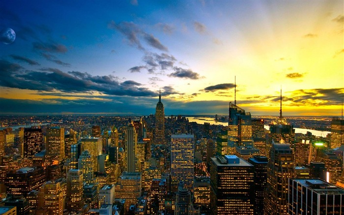 New York Sunsetnyc-City Landscape Wallpaper Views:7649