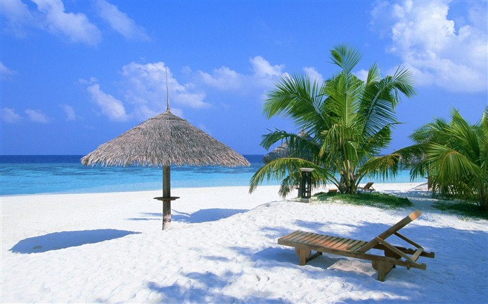 beach chairs pavilion-Natural scenery wallpaper Views:5547