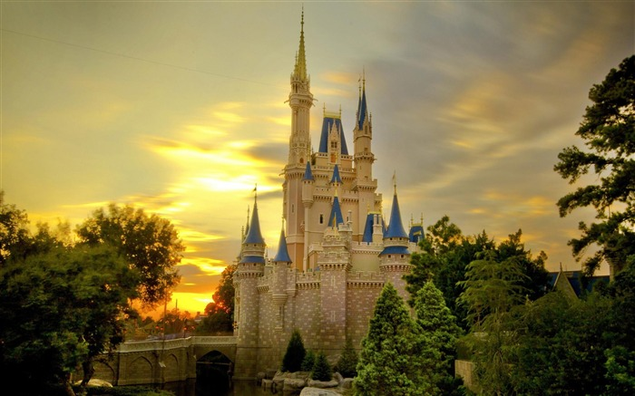cinderella castle at sunset-city architecture wallpaper Views:21848