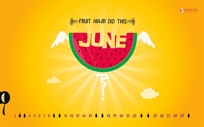fruit ninja-June 2012 calendar wallpaper Views:4437