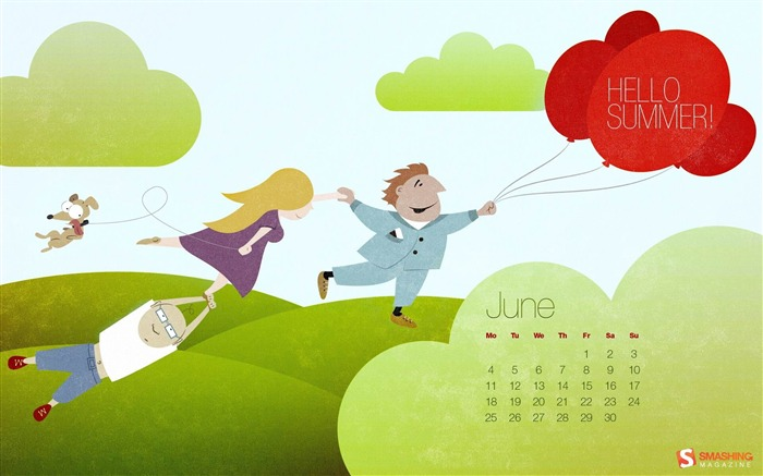 hello summer-June 2012 calendar wallpaper Views:3740