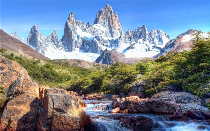 mountains river-Natural scenery wallpaper Views:10277