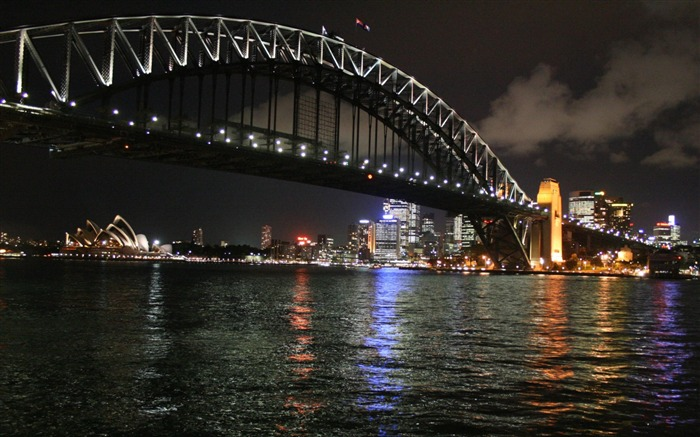 sidney by night bay bridge-City Landscape Wallpaper Views:8003