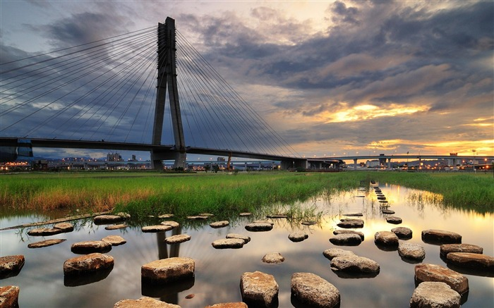 sunset architecture bridge city-City Landscape Wallpaper Views:4111