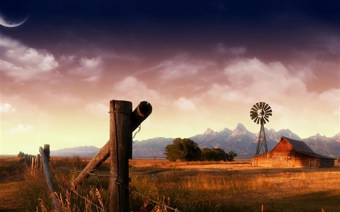 plains fence mountains-natural landscape wallpaper Views:4786