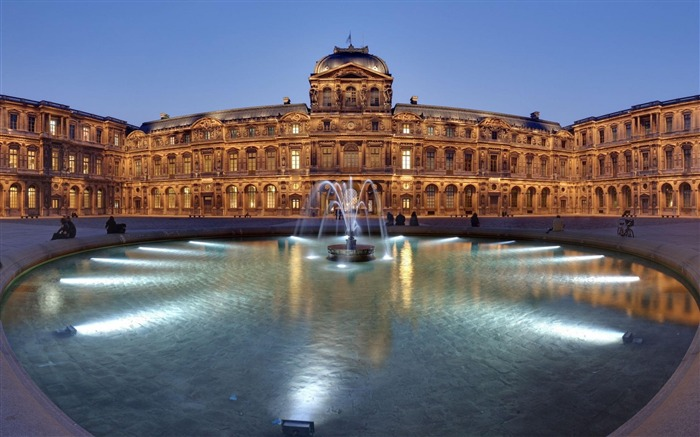 Louvre Museum Fountain France-Cities photography wallpaper Views:7541
