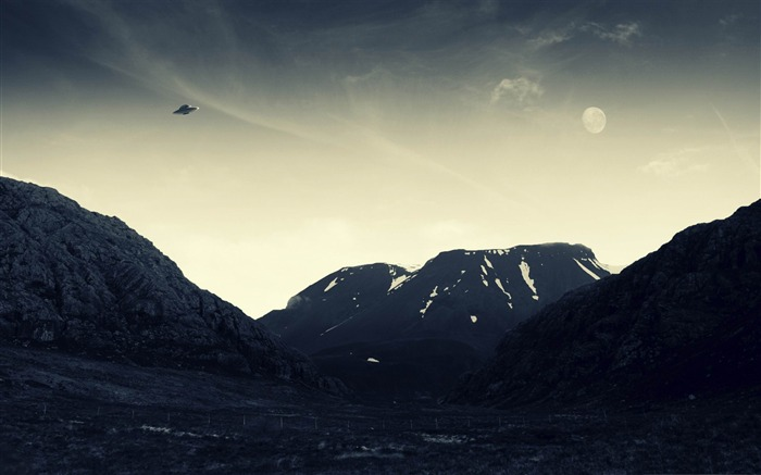 UFO flying-Vintage style wallpaper Views:10847
