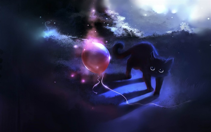 black kitty and a red balloon-Fantasy painting wallpaper Views:28374