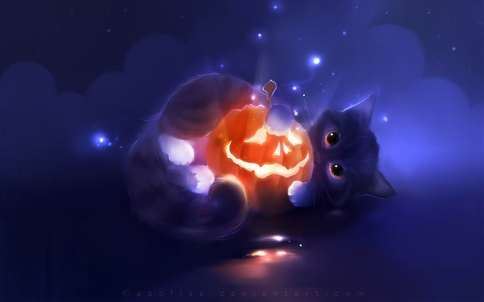 kitty playing with a pumpkin-Fantasy painting wallpaper Views:23424