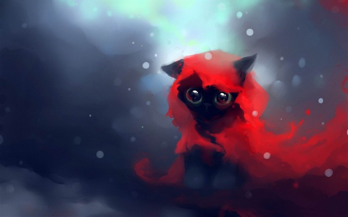 red riding hood cat-Fantasy painting wallpaper Views:24621