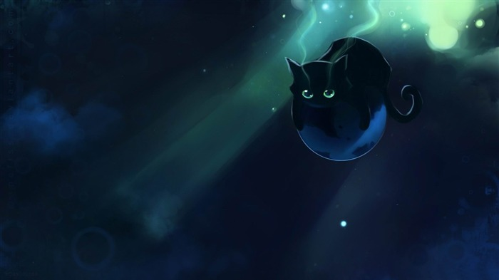 space cat-Fantasy painting wallpaper Views:26870