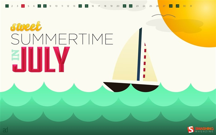 July 2012 calendar desktop themes wallpaper Views:10993