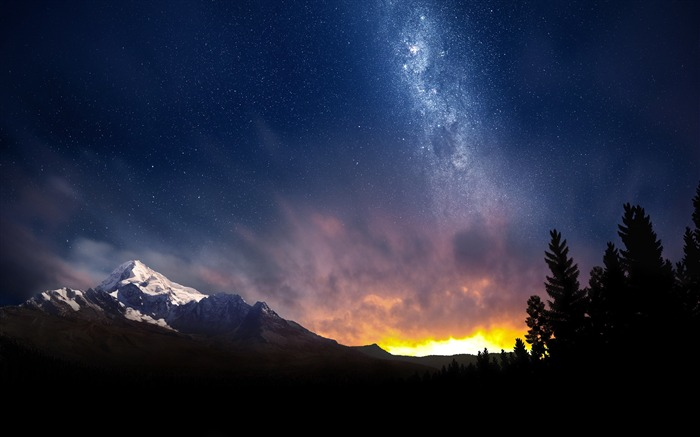 swiss night sky-Nature Landscape Wallpaper Views:13775