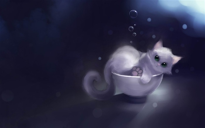 white kitty in a bowl-Fantasy painting wallpaper Views:11021